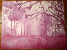 Wine painting wip - misty forest by superturtlethefirst