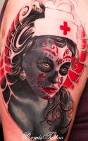 Color Day Of The Dead Tattoo Sugar Girl Tattoo by Remistattoo