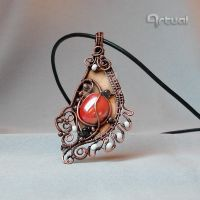 Wire wrapped glass cabochon pendant on copper by artual