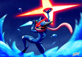 Commission: Ash's Greninja by Nafp
