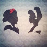 Snow White and Cinderella Silhouettes by broopimus