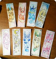 eeveelution bookmarks! by Kuitsumi