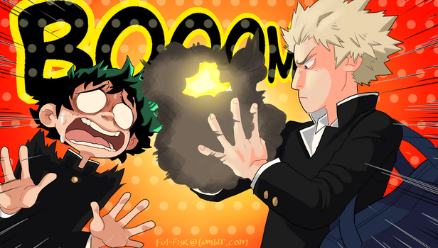 Boku no Hero Academia Episode 1 scene redraw by Ful-Fisk