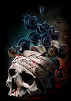 Skull Banner and Roses by hardnox757