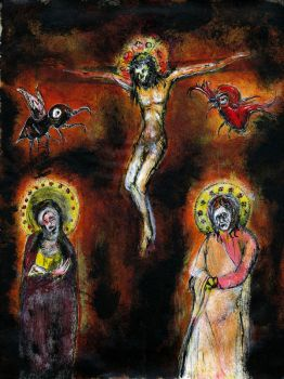 crucifixion with bug and bird by nico37