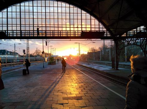 Evening Train Station by Musicaloris