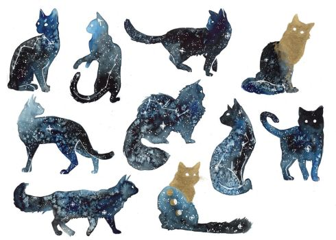 Galaxy Cats by ThreeLeaves