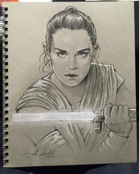 Rey - Star Wars Force Awakens - SWCE Sketch by AlexBuechel