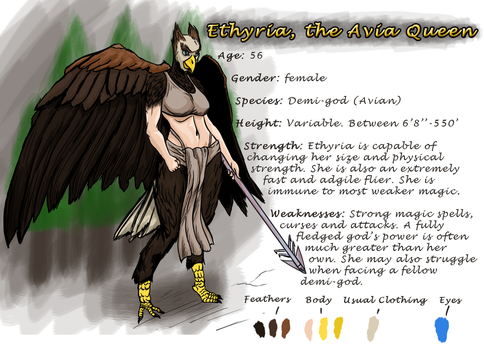 Ethyrian, the Avia Queen (ref sheet) by SpikesterPrime