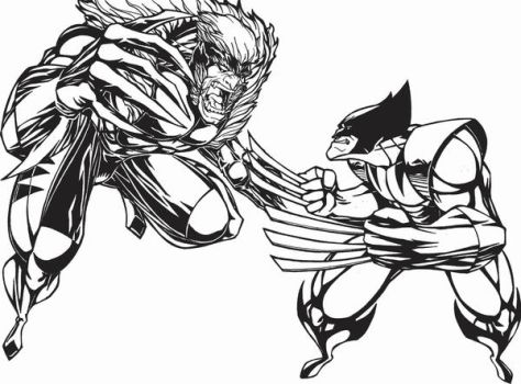 wolverine vs. sabretooth by laspongols