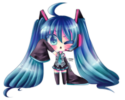 HATSUNE MIKU: lineart colored!~ by InsaneMelodii