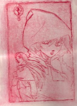 W.I.T.C.H. Cornelia and Elyon - Etching (Red Ver.) by LitTechGirl