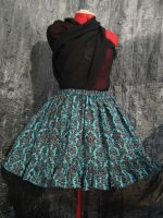 Blue and Brown Demask Skirt by SeraphimFeathers