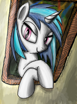 Vinyl Scratch looking out by LyokoTravelsPegasus