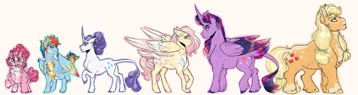 Mane Six Height Chart by DingoBreath