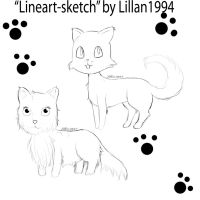 Cat and dog 'lineart' for you! by NestOfDreams