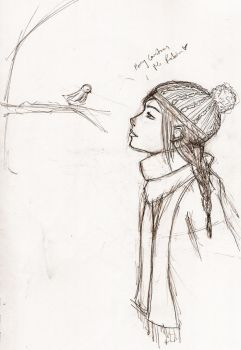 Jayjay and bird sketch by BonnieHarmony
