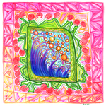 Square Doodle: Ocean of Cherries by jenthestrawberry