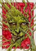 Zombie-ish Greenman on Red by zyphryus