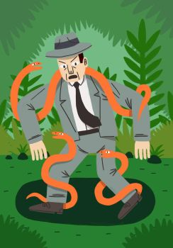 Man with snakes by Teagle
