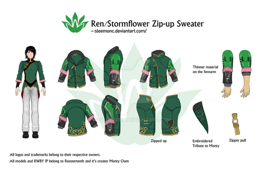 Ren / Stormflower Zip-up Sweater by Sleemonc