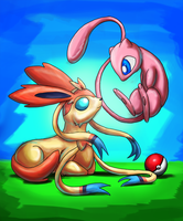 Sylveon and Mew by Cryophase