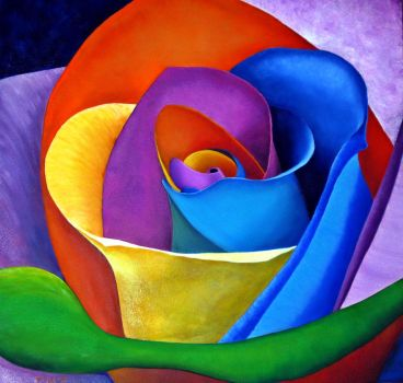 Rainbow Rose by znkf0908