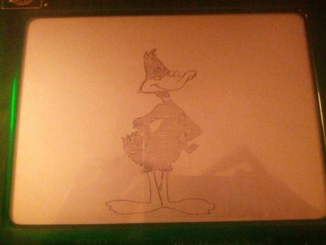 Etch A Sketch Daffy Duck by theangrybuddha