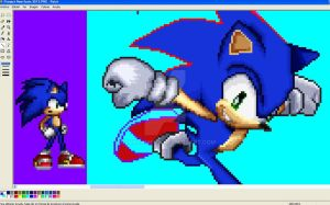 WORK IN PROGRESS - Sonic SSB4 Pose In SSF2 Style by NSMBXomega