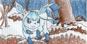 Glaceon Drawing (Card turned into a drawing #5) by xXShadow-BlizzardXx