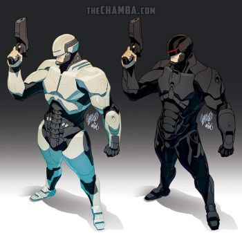 Detroit Cybernetic police officer by theCHAMBA