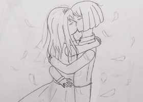 Wedding Kiss Sketch by cutelightangel