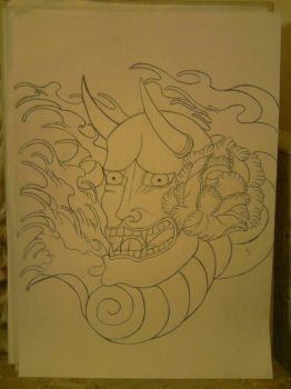 Hannya mask tattoo Step I by DrawsfromChrissy