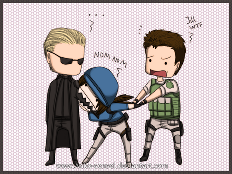 RE_Wesker-Jill-Chris_Chibis by Anko-sensei