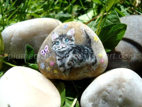 Cat - stone painting by plumedharfang