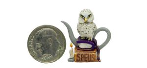 SNOWY OWL WITCH HALLOWEEN SPELL BOOK TEAPOT by WEE-OOAK-MINIATURES