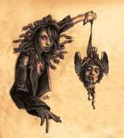 Medusa with Perseus' head by LIZA-BIGGers