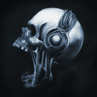 Skull and Headphones by i-am-courtney