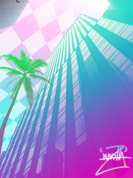 Vaporwave Skyscraper by StormSketch