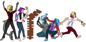 A bunch of a-holes playing Jenga or something by Zombii-Milkshake
