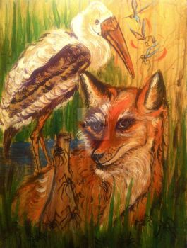 aesop's the fox and the crane by sos1989