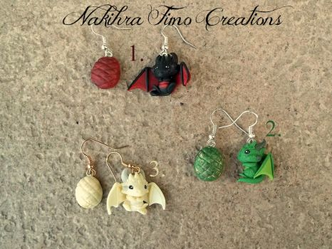 Daenerys Targaryen's Dragons Earrings Polymer Clay by Nakihra