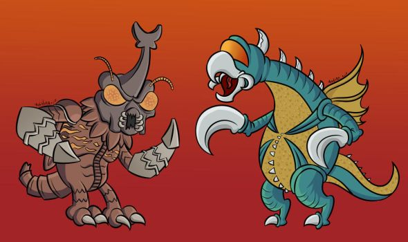 Megalon and Gigan by NeoKaoz