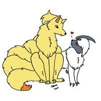 Commission - Ninetales and Absol by Caskatified