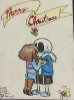 MERRY CHRISTMAS HAVE A SANS X FRISK by Glitch-Pixel