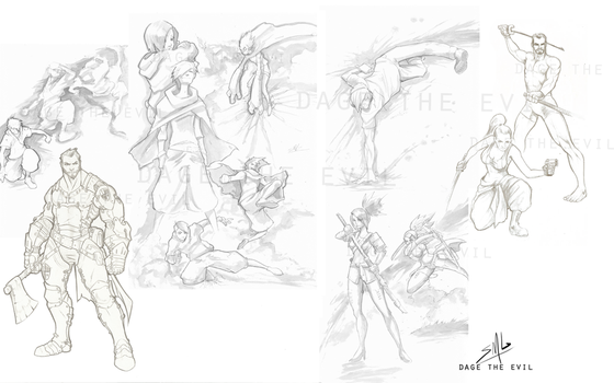 Dynamic character Poses Study and Armor by DageThe3vil
