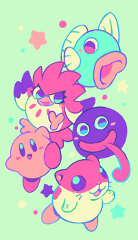 kirby and friends by extyrannomon