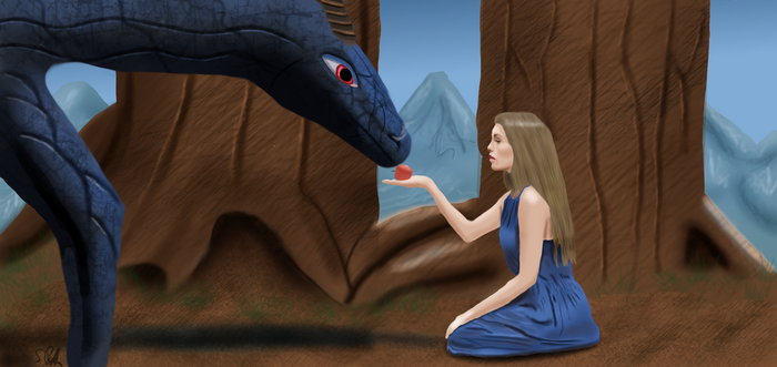 The Dragon and the shy girl by Andromus75