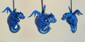 Hanging Blue Dragon by LitefootsLilBestiary