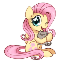 Fluttershy and Pusheen the cat by Bukoya-Star